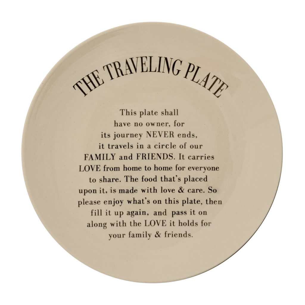 shop funny plate with message: the traveling plate gift