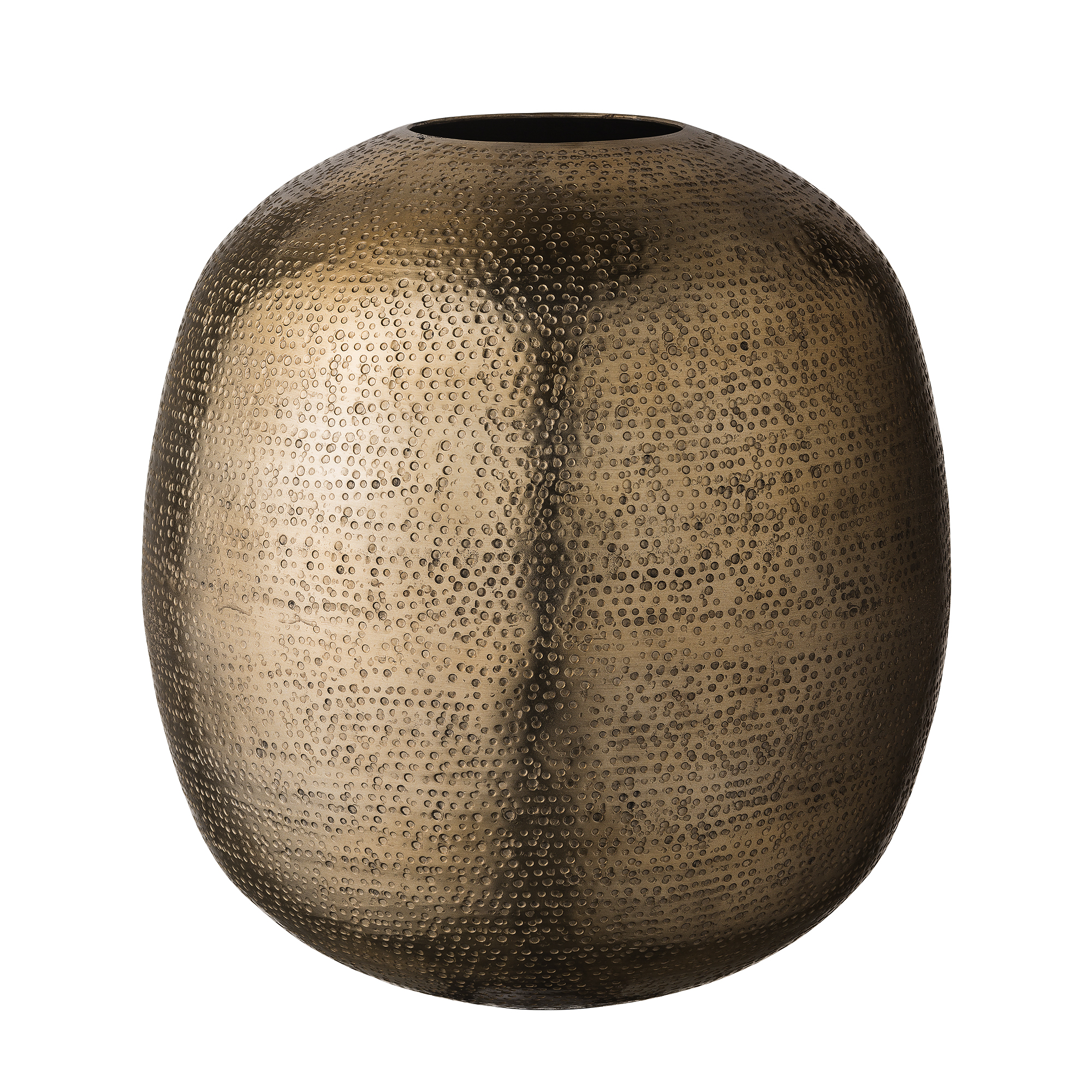 Gift gold vase made of hammered steel from day home