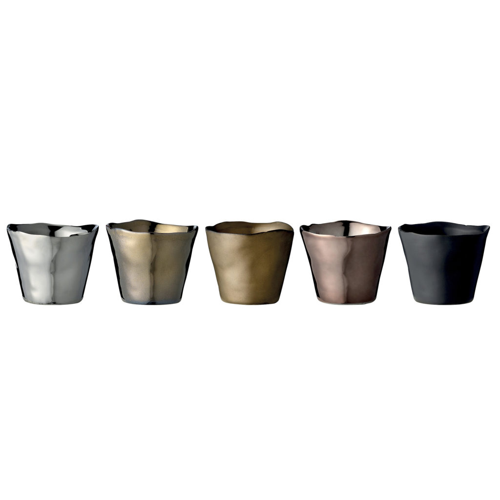 set of 5 votives in different colours , black silver gold and bronze