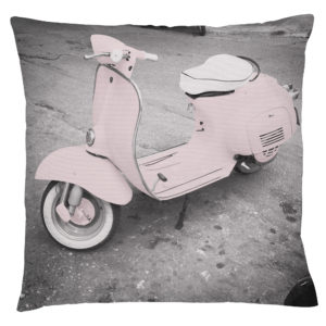 Grey pillow case featuring a pink vespa