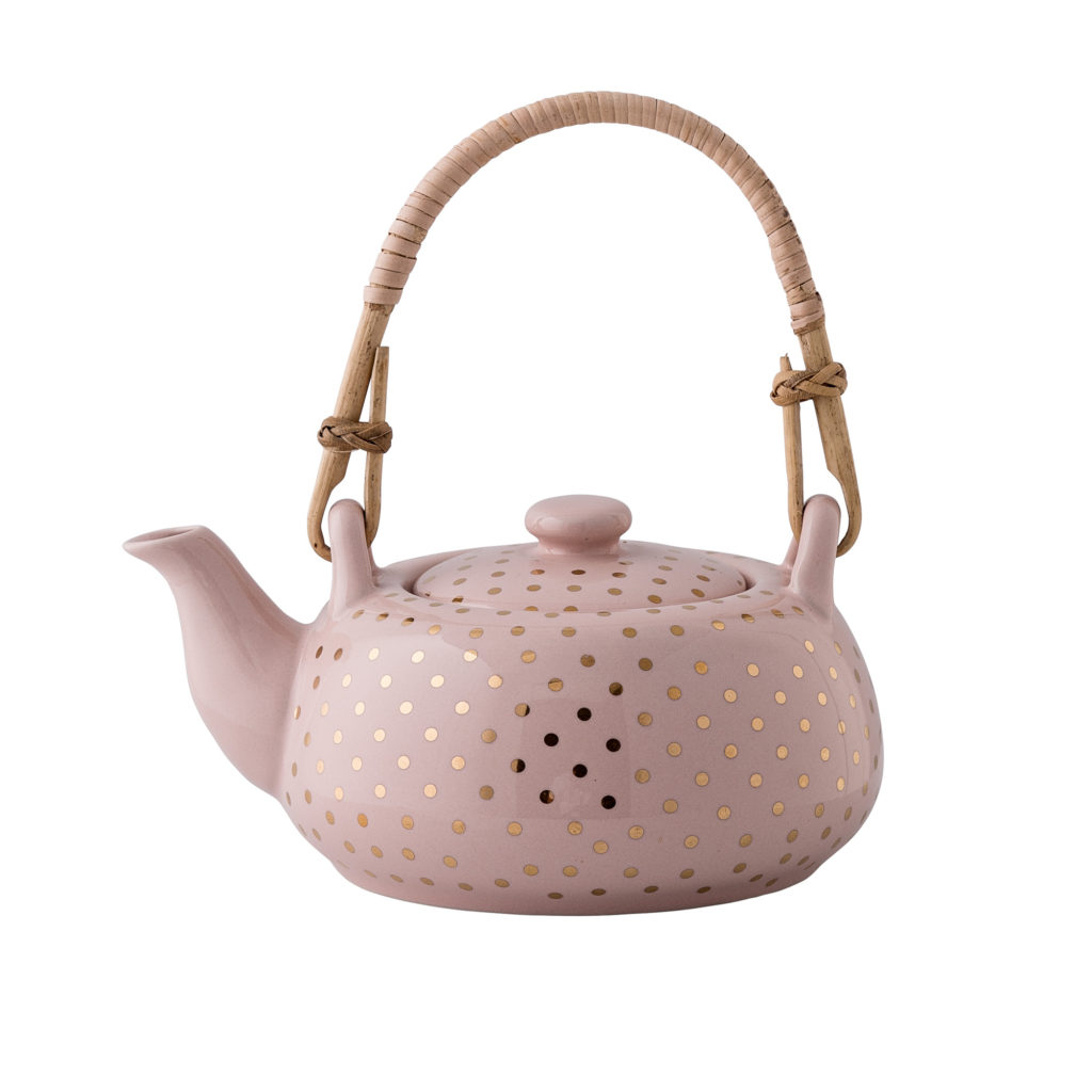 Pink powder teapot with golden dots