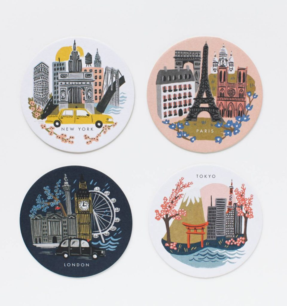 set of 8 cities coasters featuring illustrations of london, tokyo, new york and paris