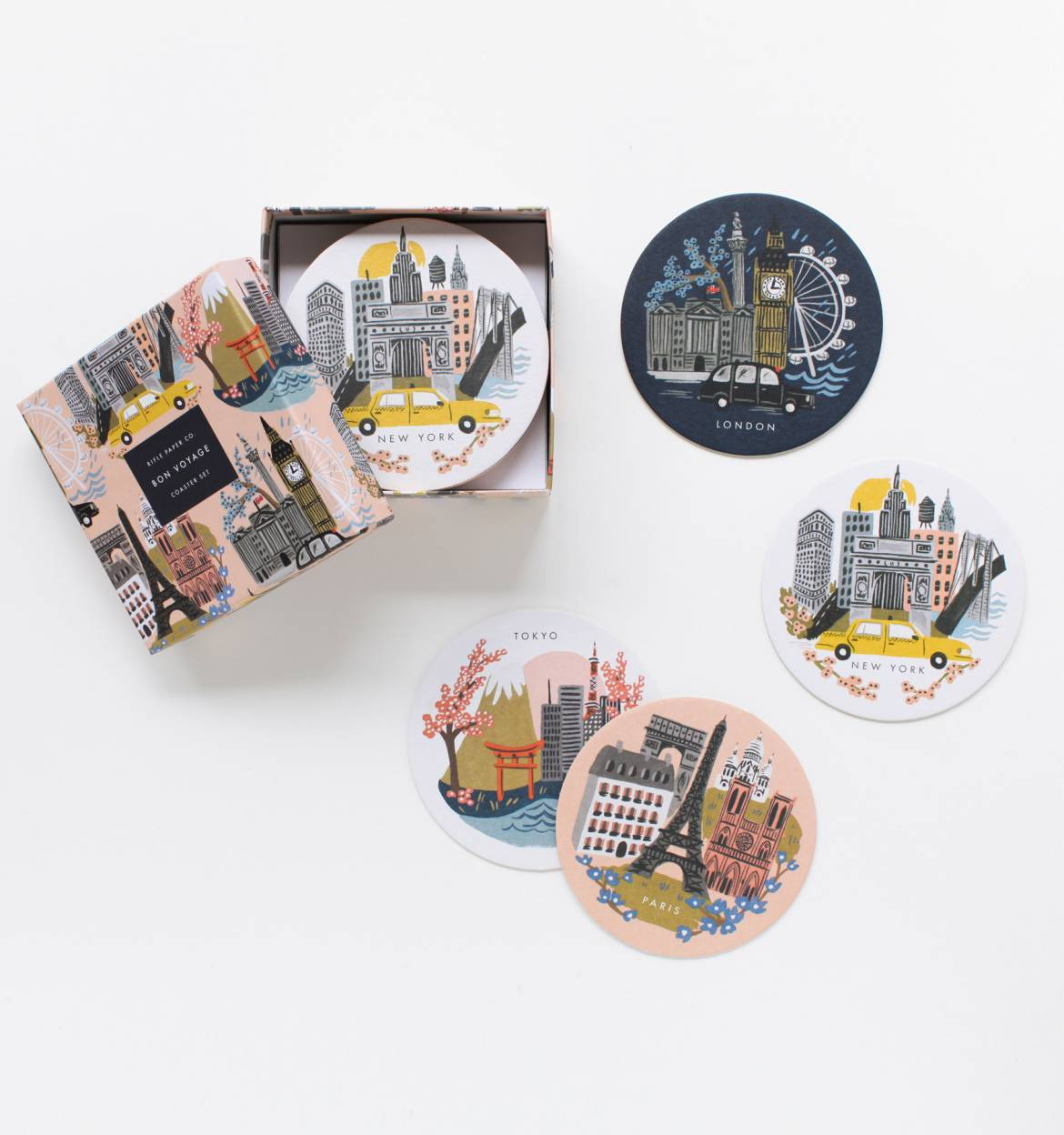 bon voyage coaster set  les gifts - gift box with illustrated cities coasters