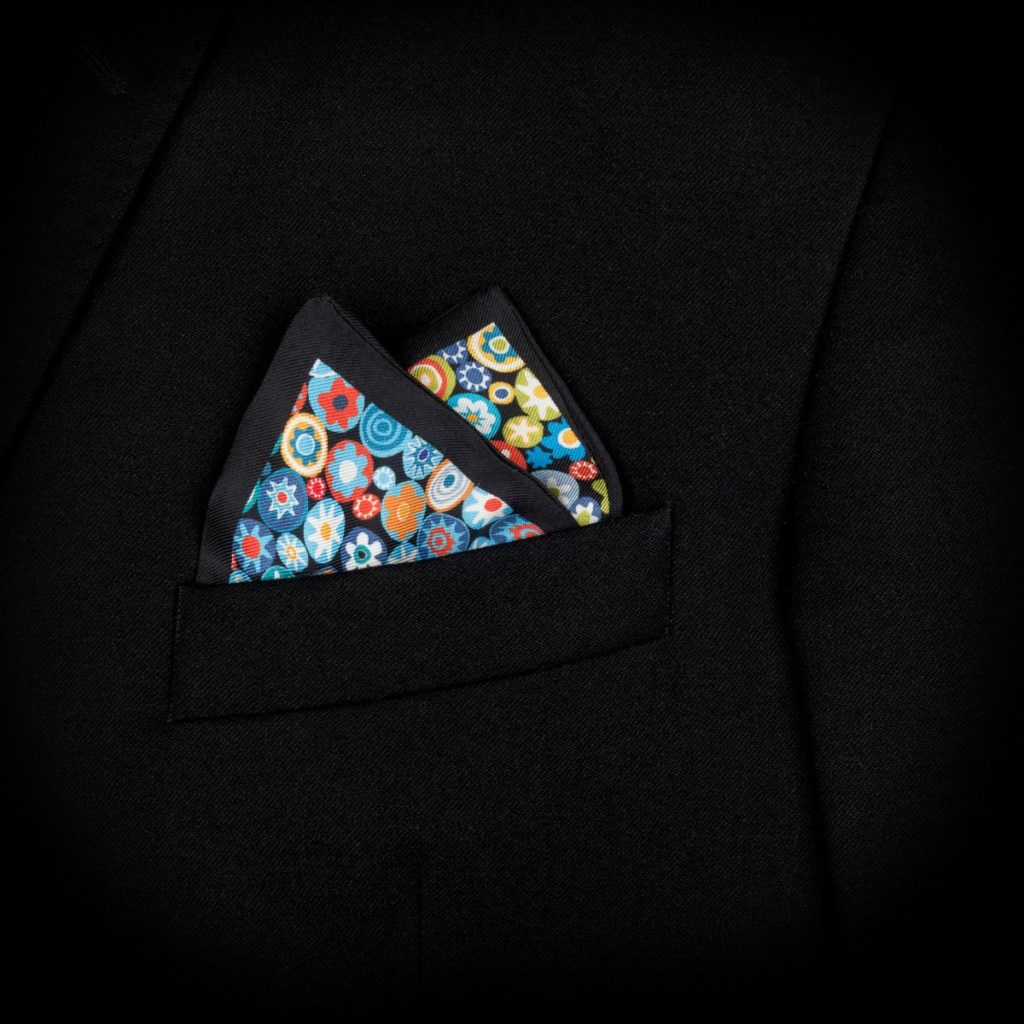 silk twill printed pocket square blue and green