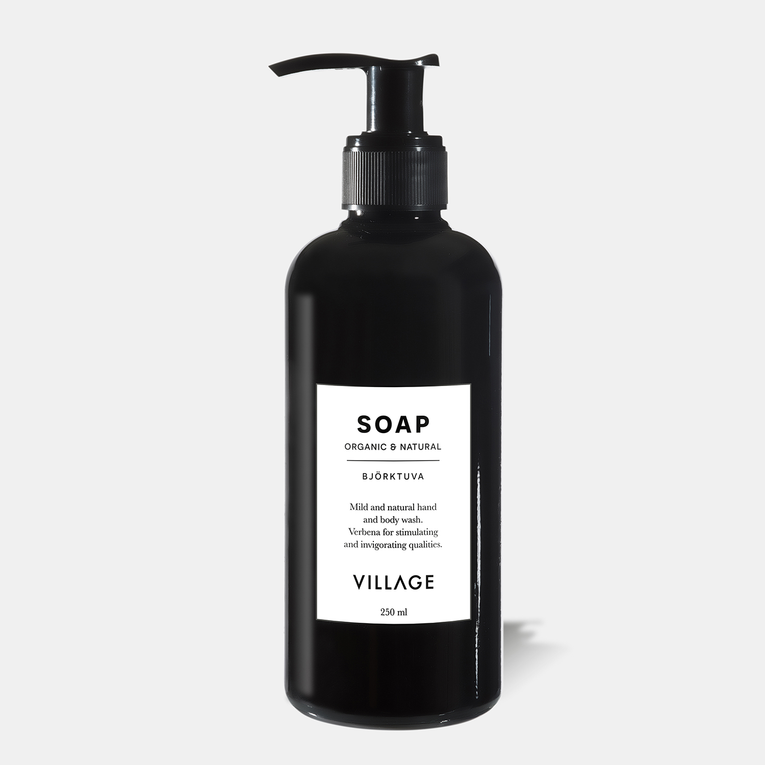 organic liquid soap and body wash from village with green lemon scent