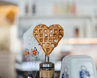 valentines day heart waffle